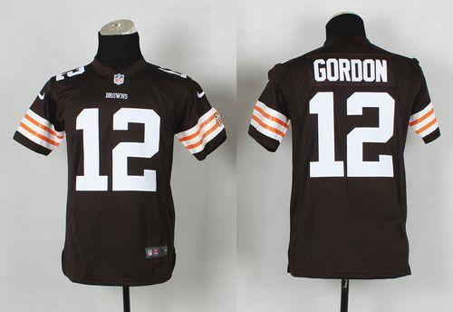 1a22579cc3c Nike Browns  12 Josh Gordon Brown Team Color Youth Stitched NFL Elite Jersey