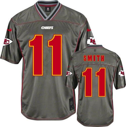 Hot Nike Chiefs #11 Alex Smith Grey Youth Stitched NFL Elite Vapor Jersey  for cheap