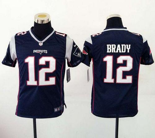 00a50c4b2 Nike Patriots  12 Tom Brady Navy Blue Team Color Youth Stitched NFL New  Elite Jersey
