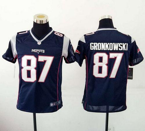 new style 6955c d6230 Nike Patriots #87 Rob Gronkowski Navy Blue Team Color Youth ...