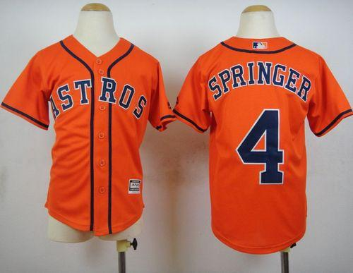 Astros  4 George Springer Orange Cool Base Stitched Youth Baseball Jersey 1a57d8a2e