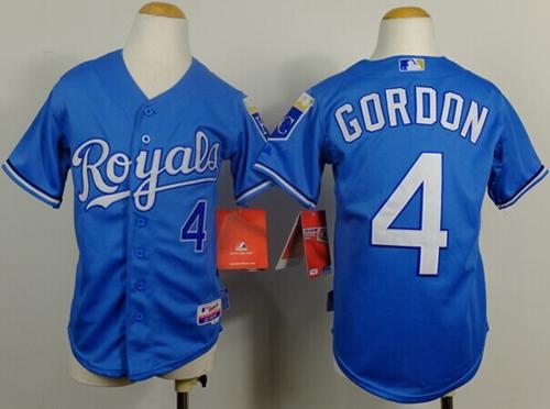 watch f98af 115eb Royals #4 Alex Gordon Light Blue Cool Base Alternate 1 ...