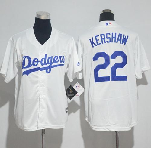 wholesale dealer 083b4 55619 Dodgers #22 Clayton Kershaw White Cool Base Stitched Youth ...